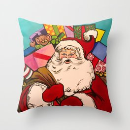 SANTA CLAUS WITH BOXES OF PRESENTS Throw Pillow
