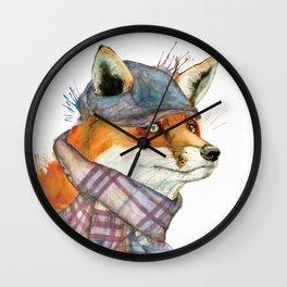 Fox in Hat Wall Clock