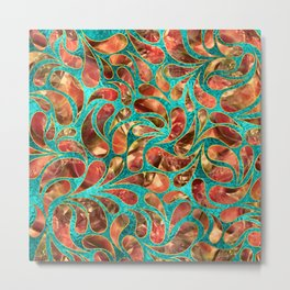 Gold Framed Red Gemstone  Paisley pattern on teal Metal Print