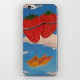 flying strawberries  iPhone Skin