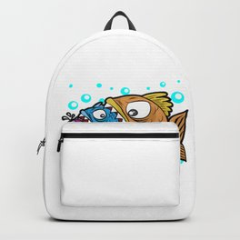 BIG MEDIUM SMALL FISH EATING Food Chain Gift Comic Backpack