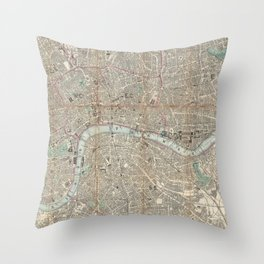 Vintage Map of London England (1862) Throw Pillow