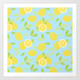 Bright And Sunny And Stamped Lemon Citrus Pattern Art Print