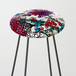 Floral watercolor abstraction Counter Stool