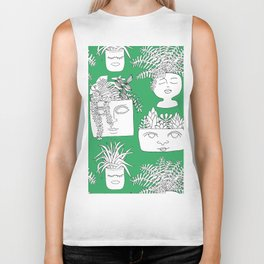 Illustrated Plant Faces in Kelly Green Biker Tank
