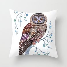 lacy owl Throw Pillow