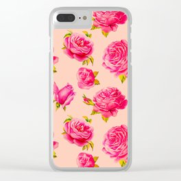 rose budget pattern pink Clear iPhone Case
