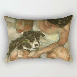 Girl Playing with Puppy Dog Impressionist Oil Painting Rectangular Pillow