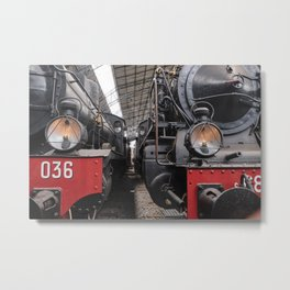 old train at the old station vintage way of travel concept with oil lamp lighting system. Metal Print