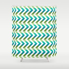 Chevron Picnic Time - Geometric pattern with blue and green Shower Curtain