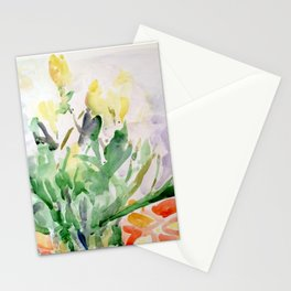 Yellow Tulips on Salmon Table Stationery Cards
