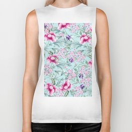 Floral Pattern Mint Biker Tank