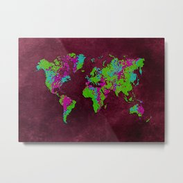world map 85 green purple Metal Print