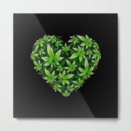 Marijuana leaf heart illustration Metal Print