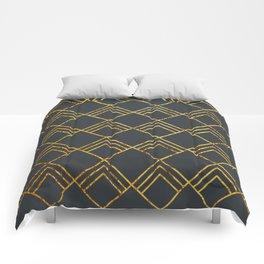 Diamond Art Deco; - Black & Gold Comforters