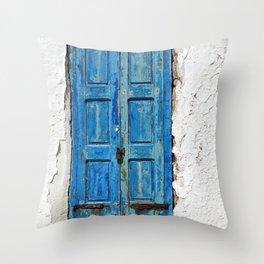 Blue Shuttered Window in Mykonos island in Greece Throw Pillow