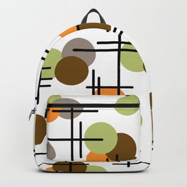 Atomic Age Molecules 2 Chartreuse Brown Orange Backpack