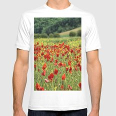 Poppies, Poppies, Poppies Mens Fitted Tee White MEDIUM