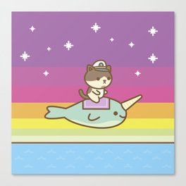 Admiral Whiskers Magical Narwhal Ride Canvas Print