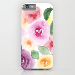 Modern abstract bright loose floral watercolor pattern iPhone Case