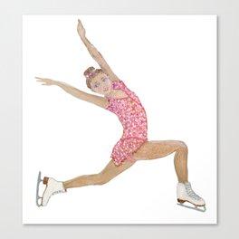 Girl in pink dress. Figure skater Canvas Print