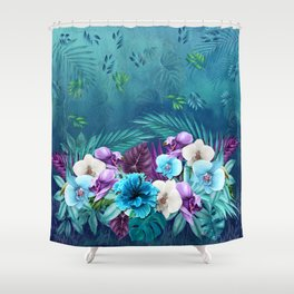 Blue Hawaiian Rain Forest Shower Curtain