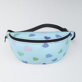 Love, Romance, Hearts - Blue Green Pink Fanny Pack