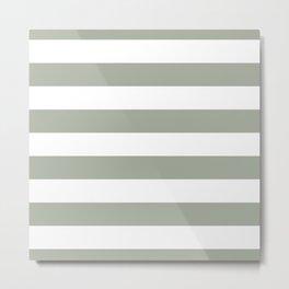 Large Desert Sage Grey Green and White Cabana Stripes Metal Print