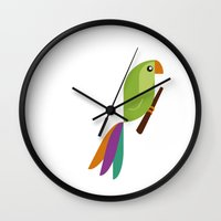 parrot Wall Clocks featuring Parrot by Juliana Motzko