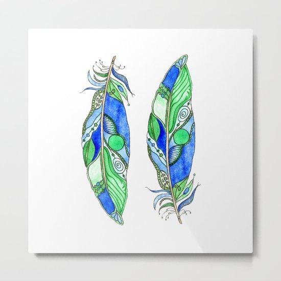 Bohemian Spirit Feathers - Blue & Green Metal Print