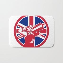 British Construction Worker Union Jack Flag Icon Bath Mat