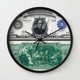 1918 $10,000 U.S. Federal Reserve Chase Bank Note Wall Clock