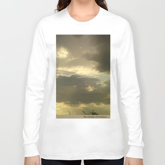 Grey tan stormy clouds in the middle of nowhere Long Sleeve T-shirt