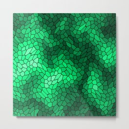 Stained glass texture of snake green leather with bright heat spots. Metal Print