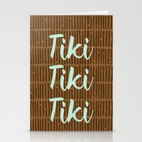 tiki Stationery Cards featuring Tiki Tiki Tiki - Beige/ Mint by YouNameIt
