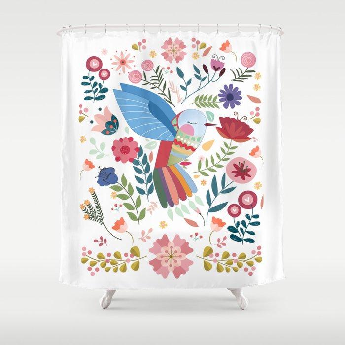 Folk Art Inspired Hummingbird In A Burst Of Springtime Blossoms Shower Curtain