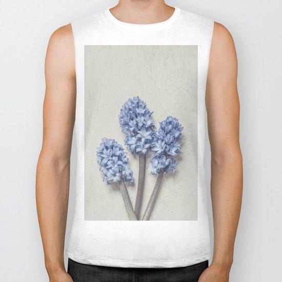 Light Blue Hyacinths Biker Tank