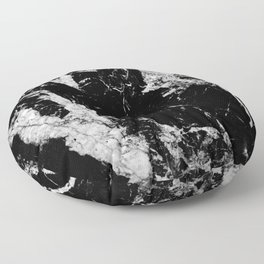 Dark marble black white stone1 Floor Pillow
