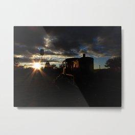 Sun Rays, Silo, and Train Car Metal Print