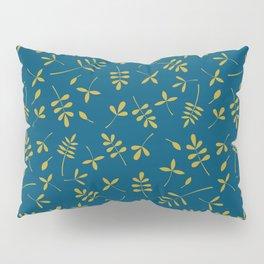 Gold Leaves Design on Teal Pillow Sham