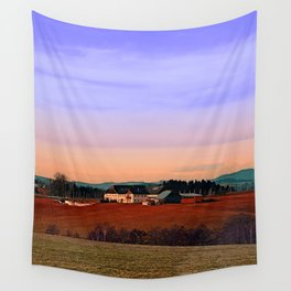 Countryside panorama in beautiful sunset colors | landscape photography Wall Tapestry
