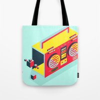 radio Tote Bags featuring Radio Jam by Amy Wang