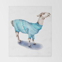 Llama in a Blue Sweater Throw Blanket