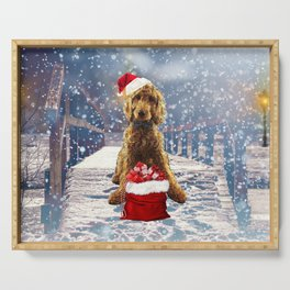Christmas Golden Doodle Serving Tray