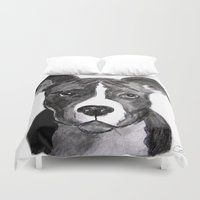 pit bull Duvet Covers featuring Pit Bull Dogs Lovers by Gooberella