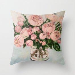 Blush pink roses.. Throw Pillow