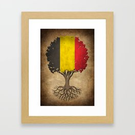 Vintage Tree of Life with Flag of Belgium Framed Art Print