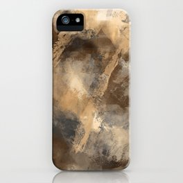 Stormy Abstract Art in Brown and Gray iPhone Case