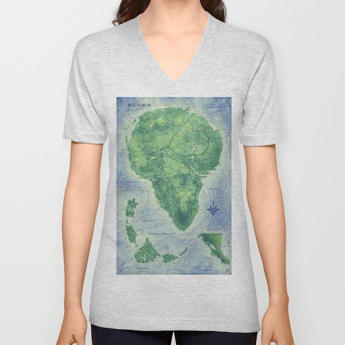 Jurassic Park - Map - Colour Unisex V-Ausschnitt