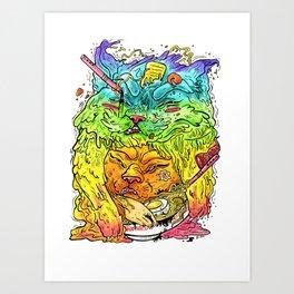 Maneki-Neko Noodles  Art Print